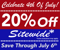 Celebrate 4th Of July! With Our Fantastic 20% Off Sitewide Sale!! No Minimum Order, Shop Through July 6th With Promo Code 4JULY15- *Click For Details