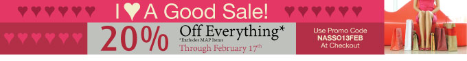 Love A Good Sale? Save 20% On Everything*  - Offer Good Through 02-17-2013 - Use Promo Code ACPSO13FEB